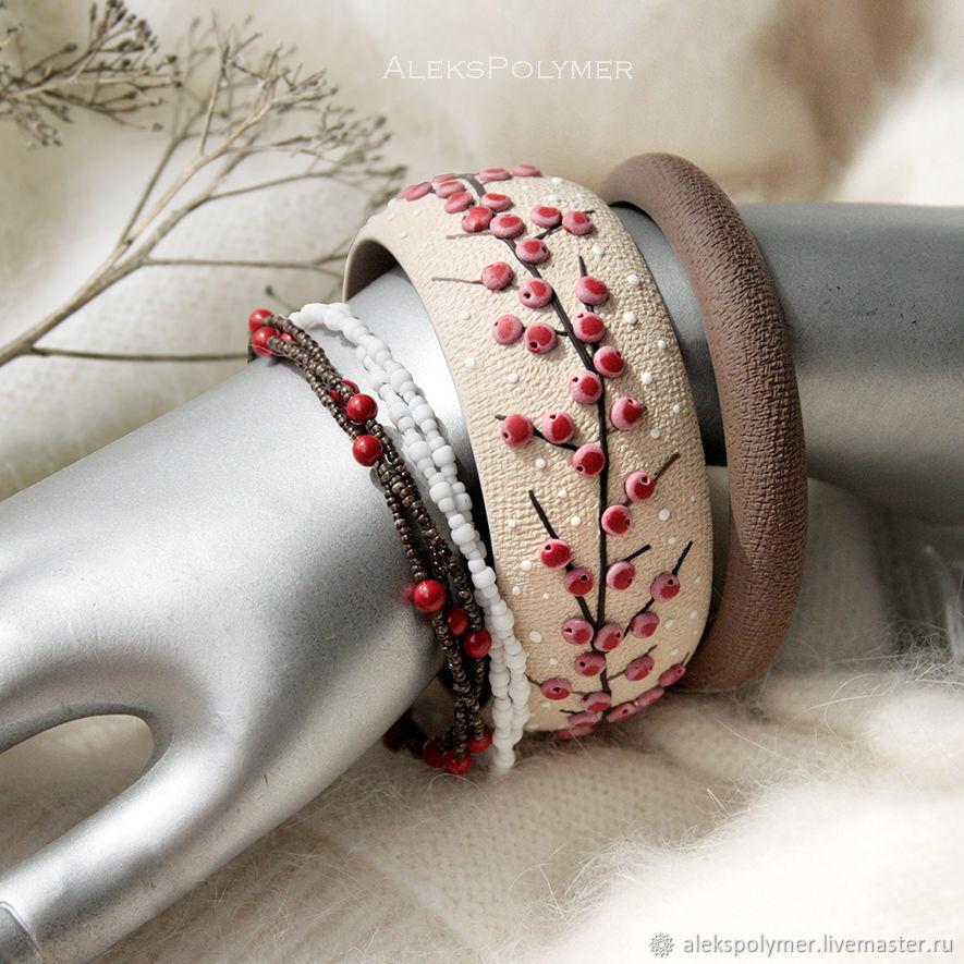 Комплект браслетов с красными ягодами из полимерной глины, Комплект браслетов, Барнаул,  Фото №1