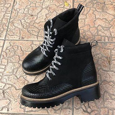 """Обувь ручной работы. Ярмарка Мастеров - ручная работа Ботиночки """"Mountain черный нубук/черная рептил"""". Handmade."""