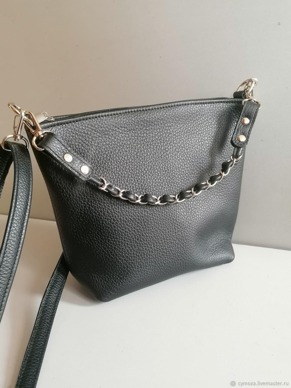 Leather bag. Crossbody bag. Hobo small. black, Crossbody bag, Krasnodar,  Фото №1