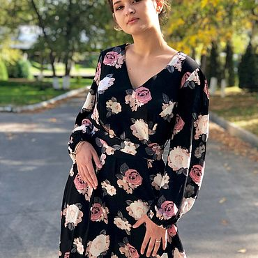 Clothing handmade. Livemaster - original item Dress long, loose of crushed cotton-Coffee roses. Handmade.