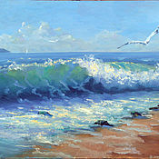 Pictures handmade. Livemaster - original item Oil painting sea wave, seascape, oil painting. Handmade.