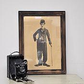 Картины и панно ручной работы. Ярмарка Мастеров - ручная работа Ретро постер Чарли Чаплин винтажная картина, панно на стену винтаж. Handmade.