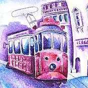 """Картины и панно ручной работы. Ярмарка Мастеров - ручная работа Картина акварелью """"Весенний трамвайчик"""". Handmade."""