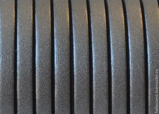Для украшений ручной работы. Ярмарка Мастеров - ручная работа. Купить Кожаный шнур плоский 5 мм темно-серый металлик. Handmade.