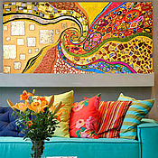 Картины и панно handmade. Livemaster - original item A bright abstract painting in the gold potal Klimt. Kiss. Handmade.