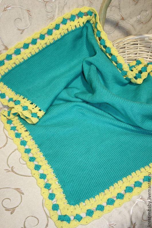 Пледы и одеяла ручной работы. Ярмарка Мастеров - ручная работа. Купить Плед из мягкой детской пряжи. Handmade. Бирюзовый