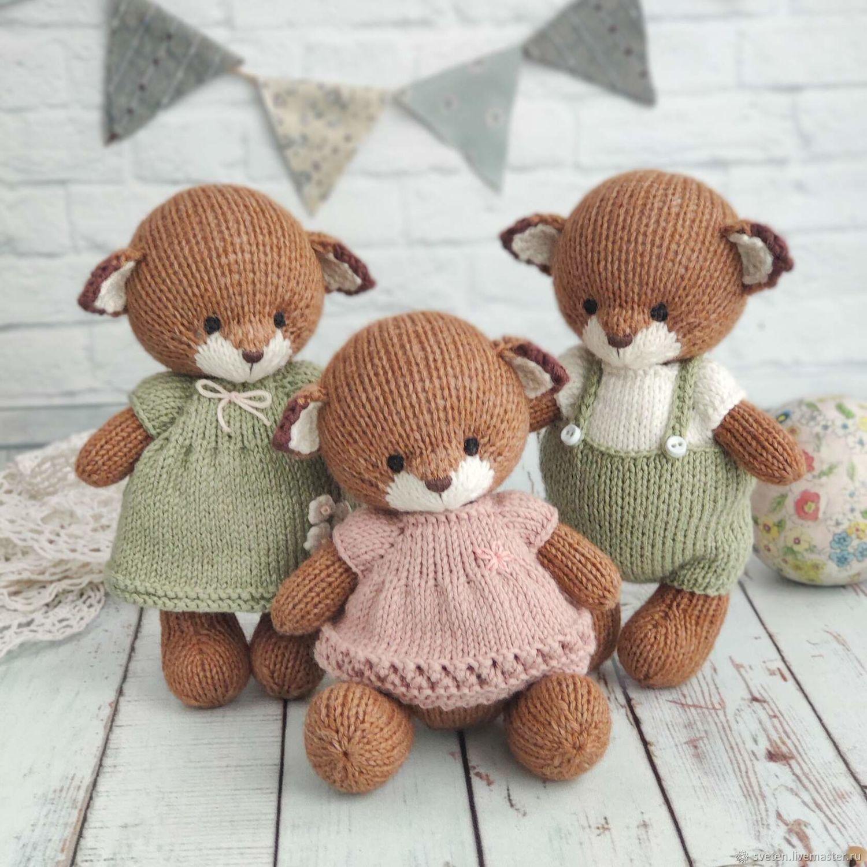 Лисенок, вязаная игрушка, Вальдорфские куклы и звери, Коломна,  Фото №1