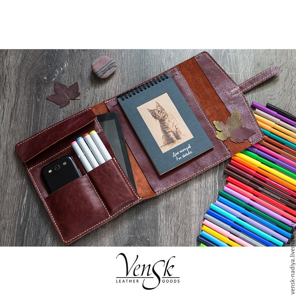 Обложка из натуральной кожи для скетчбука, ежедневника, блокнота, Обложки, Чемал,  Фото №1