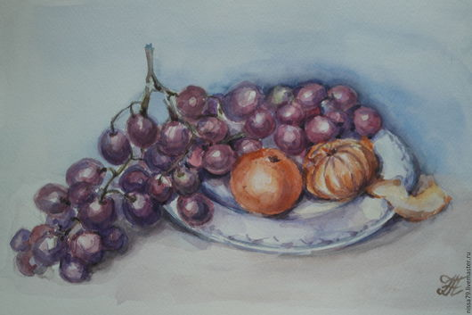 Натюрморт ручной работы. Ярмарка Мастеров - ручная работа. Купить Натюрморт с виноградом и мандаринами. Handmade. Акварель, фрукты, акварель в подарок