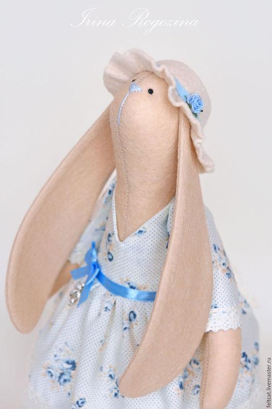 """Игрушки животные, ручной работы. Ярмарка Мастеров - ручная работа. Купить Зайка  """"Blue Rose""""  с цветами. Handmade. Голубой"""