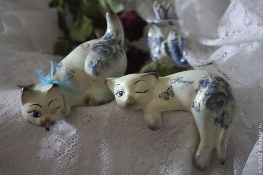 Статуэтки ручной работы. Ярмарка Мастеров - ручная работа. Купить Винтаж в бело-голубом (керамика). Handmade. Голубой, винтажный стиль