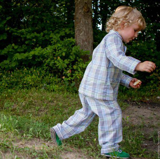 Одежда унисекс ручной работы. Ярмарка Мастеров - ручная работа. Купить Детская пижама Classic Pajamas AZZURRO. Handmade. голубой