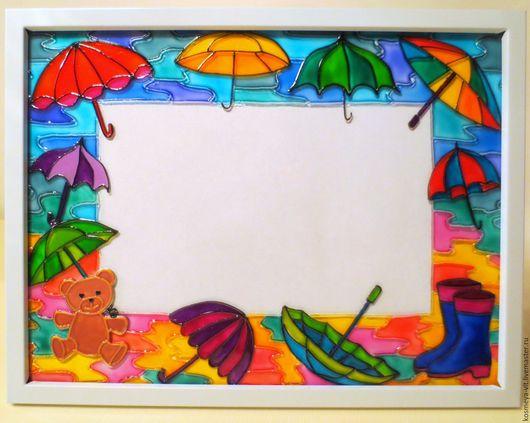 """Фоторамки ручной работы. Ярмарка Мастеров - ручная работа. Купить Фоторамка """"Средство от непогоды"""". Handmade. Комбинированный, зонт, красный, фиолетовый"""