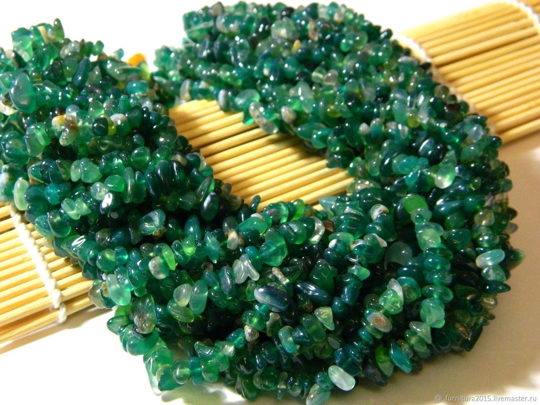 Агат крошка зеленого цвета, 85 см. Нить, Бусины, Саратов,  Фото №1
