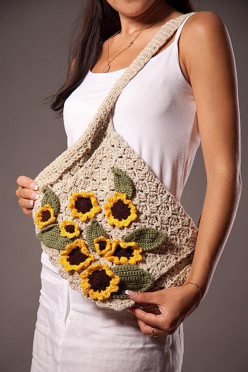 Женские сумки ручной работы. Ярмарка Мастеров - ручная работа. Купить сумочка подсолнухи. Handmade. Сумка с цветами