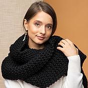 handmade. Livemaster - original item Black scarf large knit. Handmade.