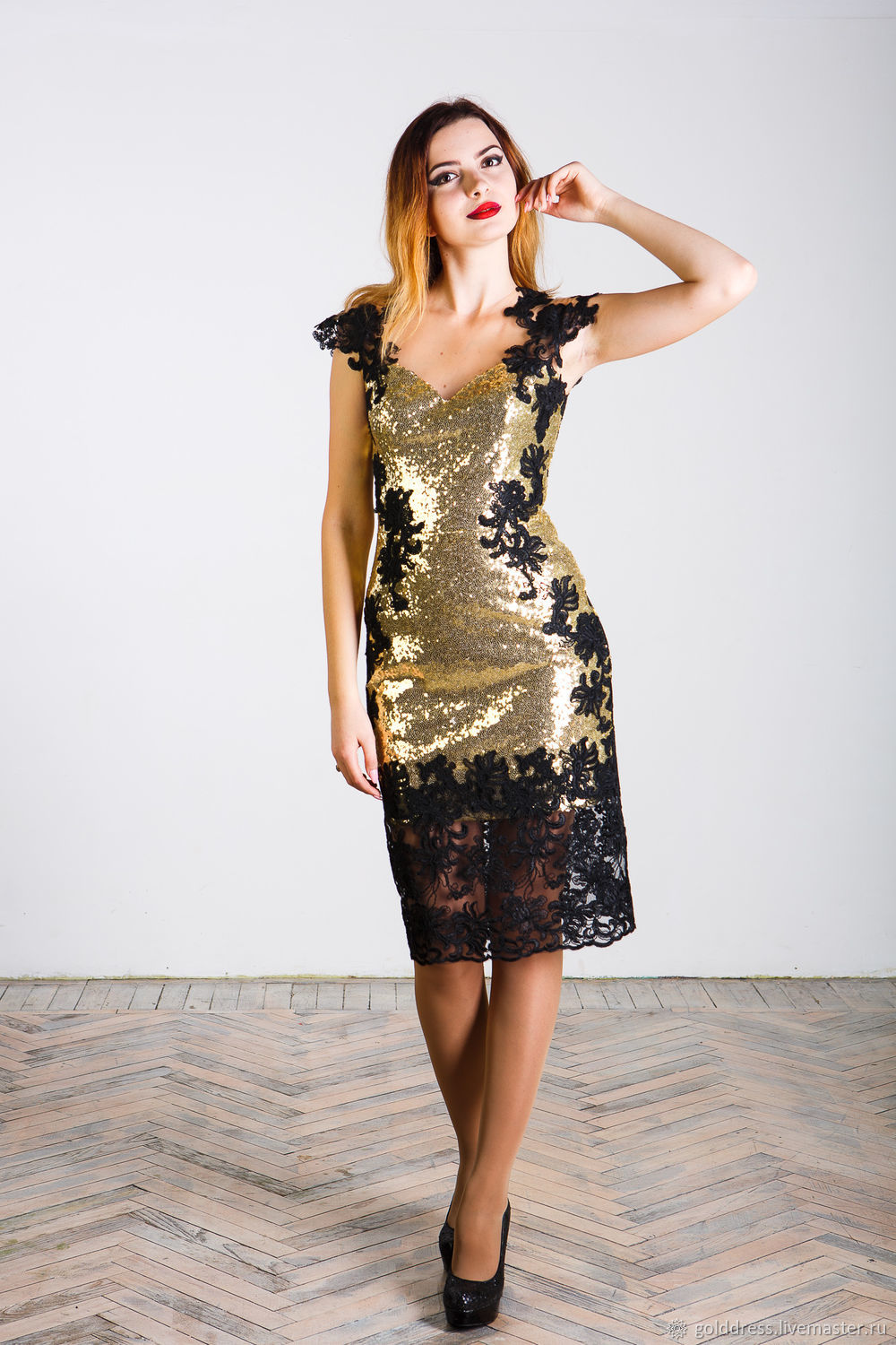 Golden dress with black lace, Dresses, Astrakhan,  Фото №1
