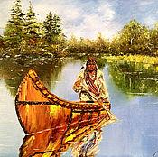 Pictures handmade. Livemaster - original item Oil painting Indian. Handmade.