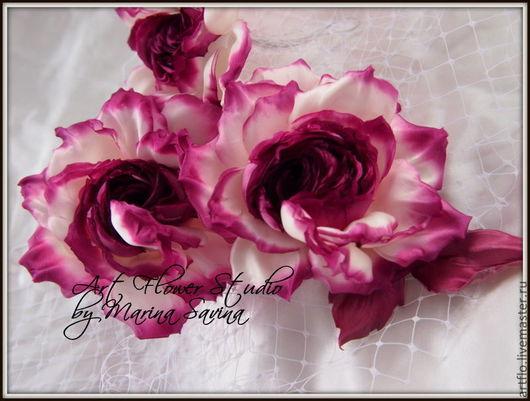 """Цветы ручной работы. Ярмарка Мастеров - ручная работа. Купить Роза """"Paradise butterfly"""" -  брошь, украшение в причёску, вуалетка. Handmade."""