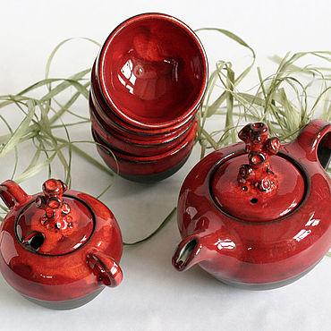 Посуда ручной работы. Ярмарка Мастеров - ручная работа Гончарный керамический набор для чаепития. Handmade.