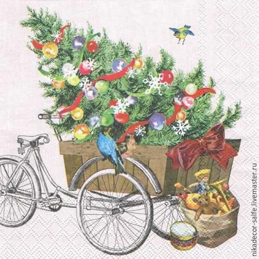 Декупаж и роспись ручной работы. Ярмарка Мастеров - ручная работа. Купить Грузовой велосипед (33305215) 33х33 салфетка для декупажа. Handmade.