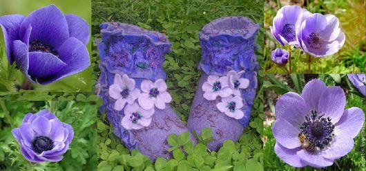 """Обувь ручной работы. Ярмарка Мастеров - ручная работа. Купить Валеночки """"Анемоны"""" домашние. Handmade. Фиолетовый, теплый подарок"""