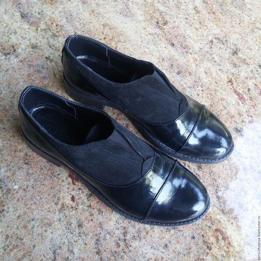 Обувь ручной работы. Ярмарка Мастеров - ручная работа. Купить Женские оксфорды Anna Chaqrua. Handmade. Черный, натуральная кожа