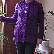 Одежда handmade. Livemaster - original item warm knitted cardigan with diamonds. Handmade.