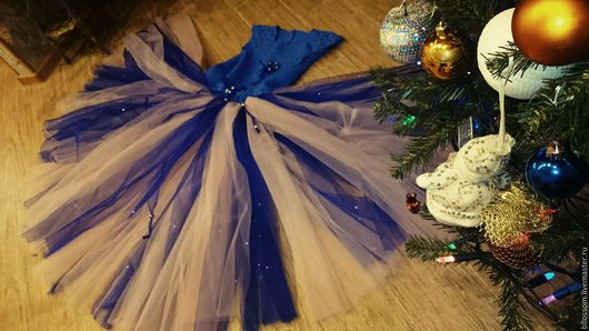 Одежда для девочек, ручной работы. Ярмарка Мастеров - ручная работа. Купить Платье для девочки Ноавогоднее. Handmade. Тёмно-синий