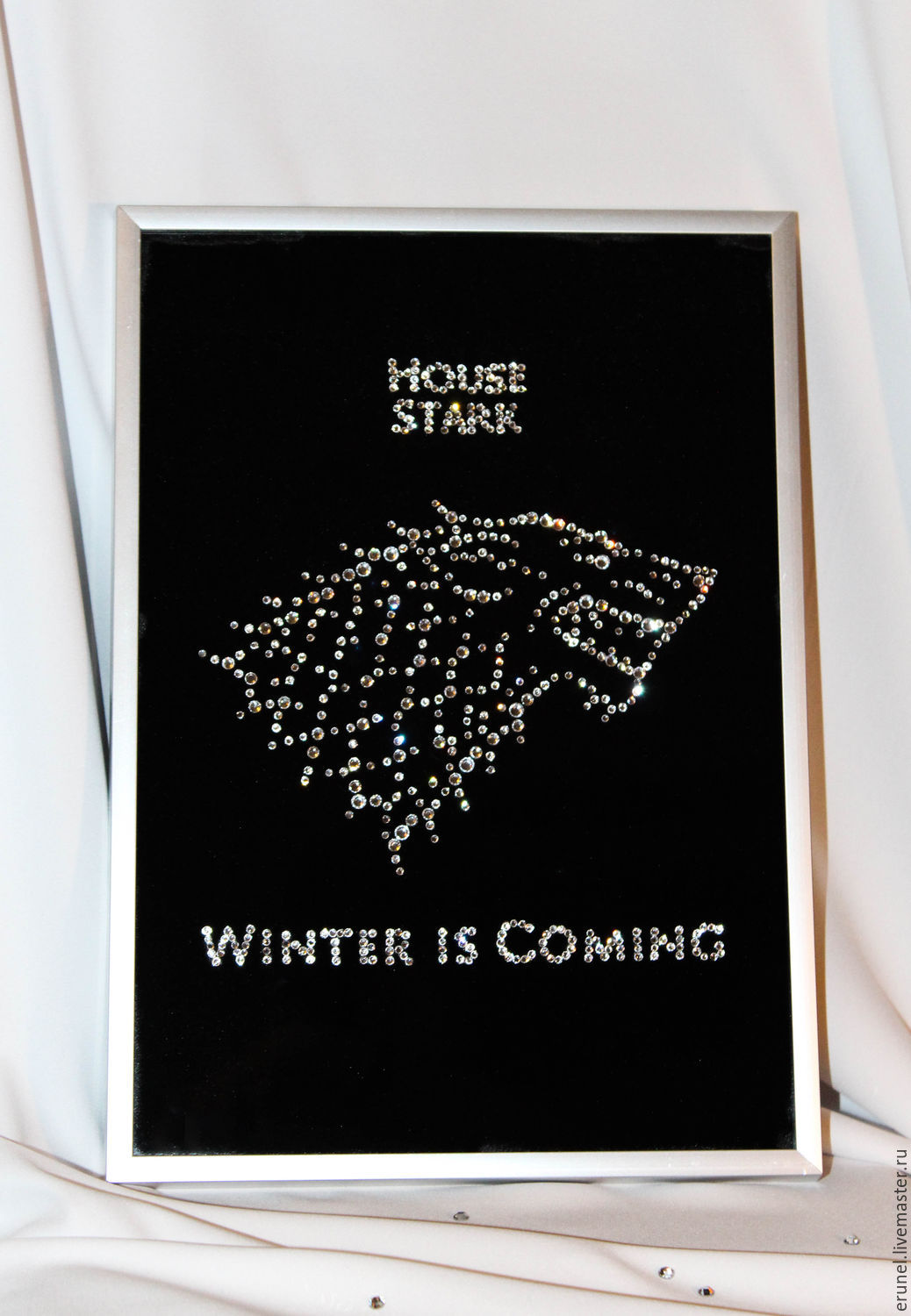 """Fantasy Painting handmade. Livemaster - handmade. Buy Picture with crystals """"Home of Starks"""".Fantasy, black, jon snow"""