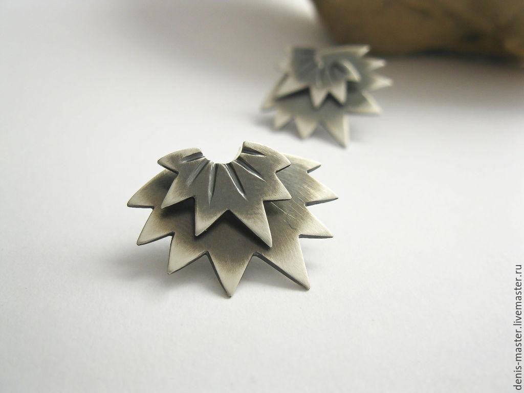 Silver earrings 'star' 925 PR, Stud earrings, Yaroslavl,  Фото №1