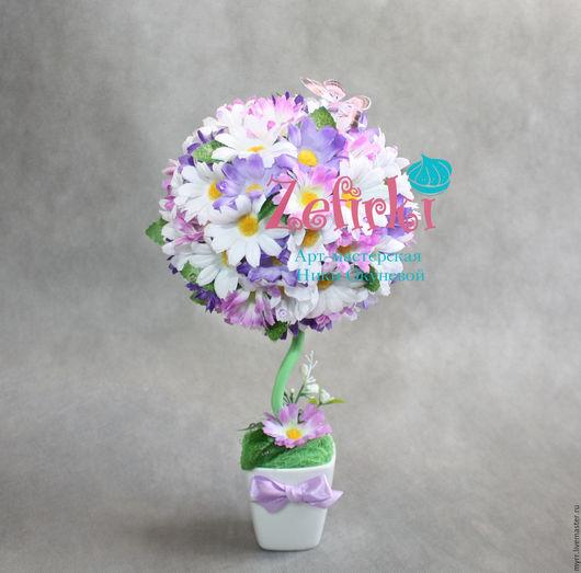 Топиарии ручной работы. Ярмарка Мастеров - ручная работа. Купить Топиарий дерево счастья. дерево из цветов белые ромашки подарок. Handmade.