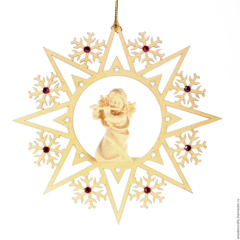 """Елочная игрушка """"Снежинка с ангелом"""" со стразами Сваровски, Елочные игрушки, Москва,  Фото №1"""