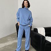 handmade. Livemaster - original item Knitted suit in a blue shade of cashmere and wool. Handmade.