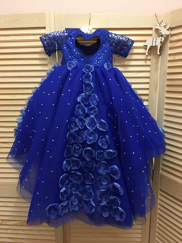 e7993cf697c ручной работы. Ярмарка Мастеров - ручная работа. Купить Синее платье с  цветами и стразами ...
