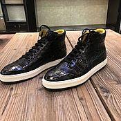 Обувь ручной работы handmade. Livemaster - original item Unisex sneakers, crocodile leather, black. Handmade.