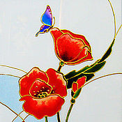 Картины и панно handmade. Livemaster - original item Triptych Red poppies, stained glass painting. Handmade.