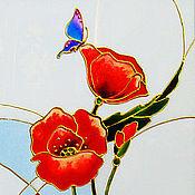 Картины ручной работы. Ярмарка Мастеров - ручная работа Триптих Красные маки, витражная роспись по стеклу. Handmade.