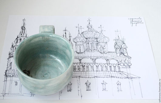Кружки и чашки ручной работы. Ярмарка Мастеров - ручная работа. Купить Пара нежно-голубых чашек. Handmade. посуда из керамики