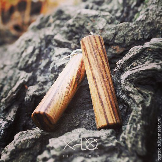 Серьги ручной работы. Ярмарка Мастеров - ручная работа. Купить Минималистичные серьги из экзотического дерева ЗЕБРАНО. Handmade. Бежевый
