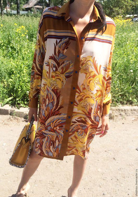 """Платья ручной работы. Ярмарка Мастеров - ручная работа. Купить Дизайнерское платье-рубашка""""Гуччи"""". Handmade. Комбинированный, женская рубашка, мода"""