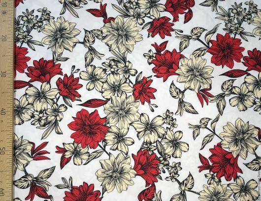 Ткань курточная 240Т PONGEE WR PU MILKY. Рисунок `красные цветы`