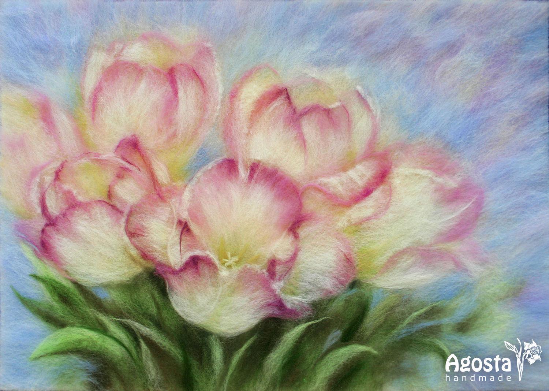 Картины из шерсти тюльпаны мастер класс
