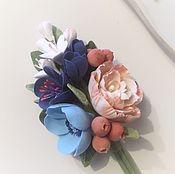 Украшения ручной работы. Ярмарка Мастеров - ручная работа Свадебная бутоньерка с цветами из полимерной глины. Handmade.