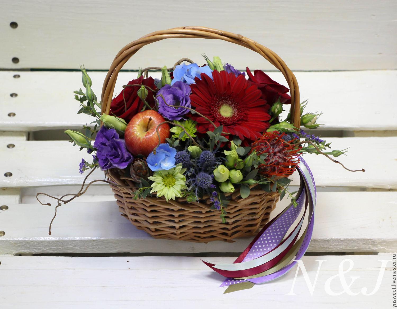 Цветы в корзине своими руками фото