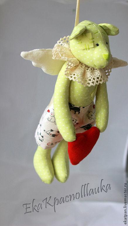 Игрушки животные, ручной работы. Ярмарка Мастеров - ручная работа. Купить Мишка-ангел в горошек. Handmade. Миша, миша валентинка
