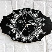 Для дома и интерьера handmade. Livemaster - original item Black and white wall clock Sun spot Painting. Handmade.