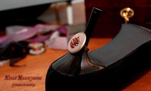 """Кольца ручной работы. Ярмарка Мастеров - ручная работа. Купить Вышитое кольцо """"Pompadour"""". Handmade. Ручная вышивка, вышивка, рококо"""