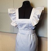 Одежда handmade. Livemaster - original item Apron Student / cotton, white. Handmade.