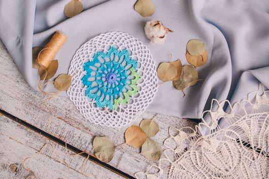 """Текстиль, ковры ручной работы. Ярмарка Мастеров - ручная работа. Купить Салфетка ажурная крючком """"Виола"""". Handmade. Комбинированный"""